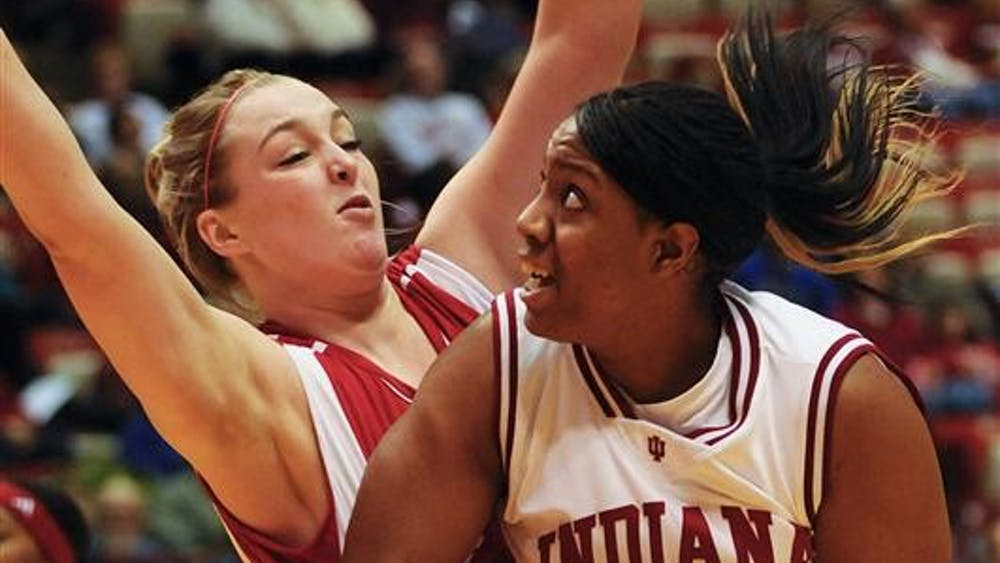 IU forward Amber Jackson posts up during IU's 64-61 win against Wisconsin on Thursday evening at Assembly Hall. Jackson had six points in the game.