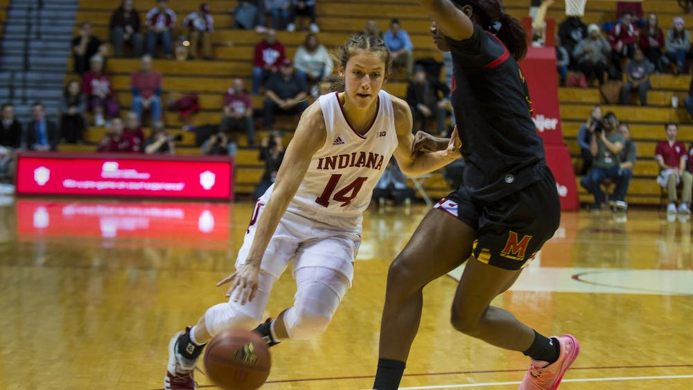 Redshirt junior Ali Patberg drives to the basket Feb. 6 at Simon Skjodt Assembly Hall. IU beat the University of Illinois at Urbana-Champaign on Feb. 13 59-54.
