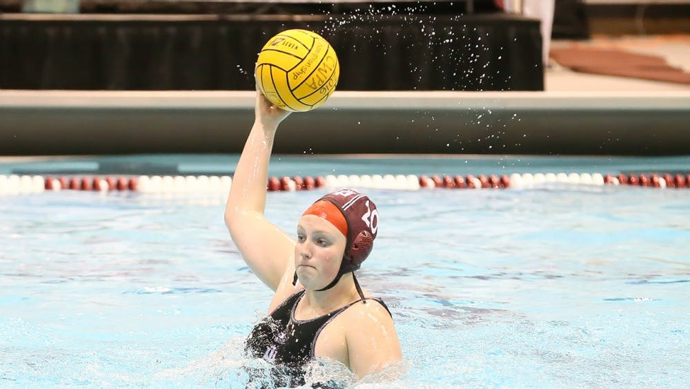 Then-junior Bronwyn Smith handles the ball in last year's CWPA Championship game against Michigan on April 30, 2016. Smith is now IU's lone senior and scored a hat trick on senior night on Friday.