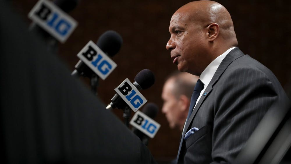 Big Ten commissioner Kevin Warren speaks following the cancellation of the men's basketball tournament due to concerns over the coronavirus March 12 at Bankers Life Fieldhouse in Indianapolis. Legislators from six states sent a letter to Warren on Tuesday asking the Big Ten to reconsider its decision to postpone fall sports.