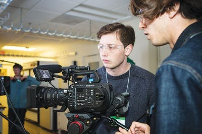 Student director Jonathan Braun and audio crew member Will Carr shoot b-roll at the Spallation Neutron Source in Oak Ridge, Tennessee. Student films often lack LGBTQ representation.