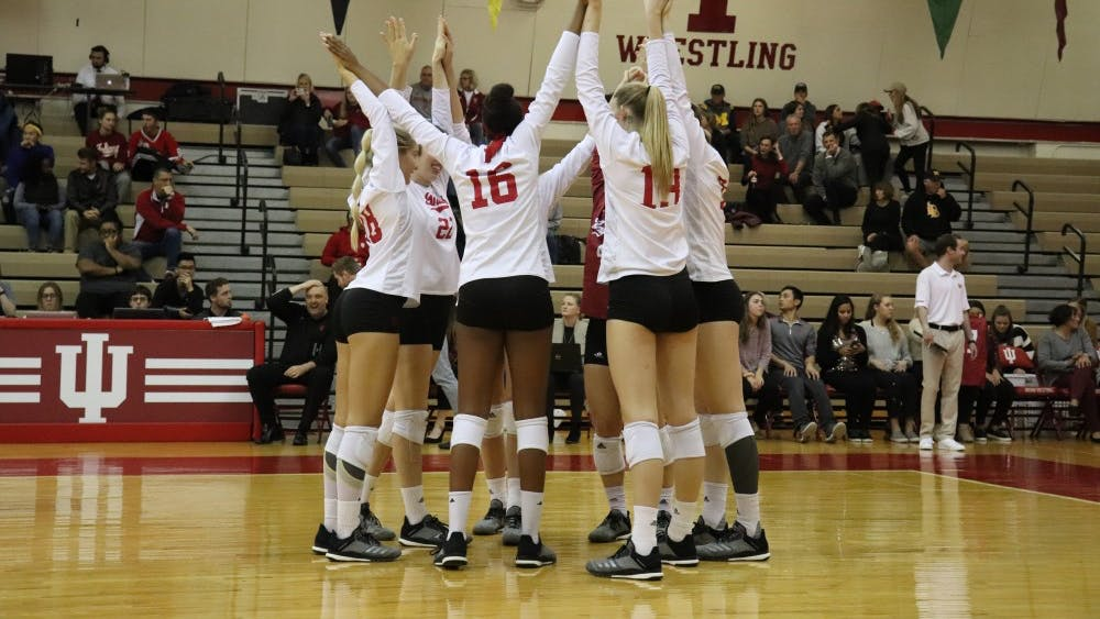 The IU women's volleyball team prepares to play Michigan on Oct. 31 in University Gym. IU ended its season Friday with a 16-15 overall record.