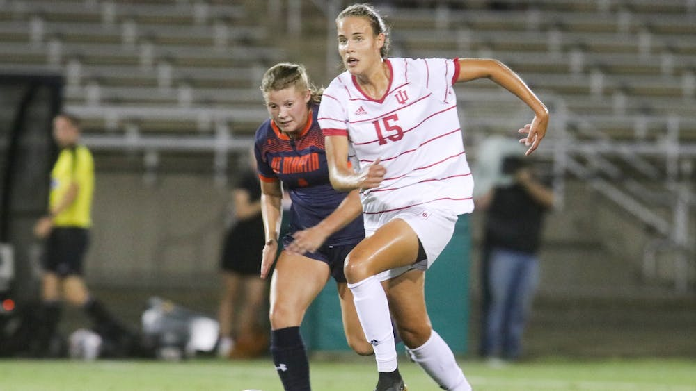 Graduate student defender Hanna Németh runs towards the ball Aug. 26, 2021, in Bill Armstrong Stadium. The Hoosiers defeated the University of Tennessee at Martin 1-0.