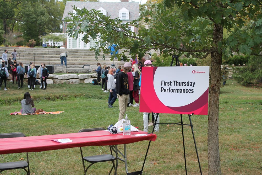 <p>Students gather near the Conrad Prebys Amphitheater Oct. 1, 2020, for the First Thursday Festival. The monthly festival begins Sept. 2, 2021, and will be held from 5-8 p.m. in the Arts Plaza.</p>
