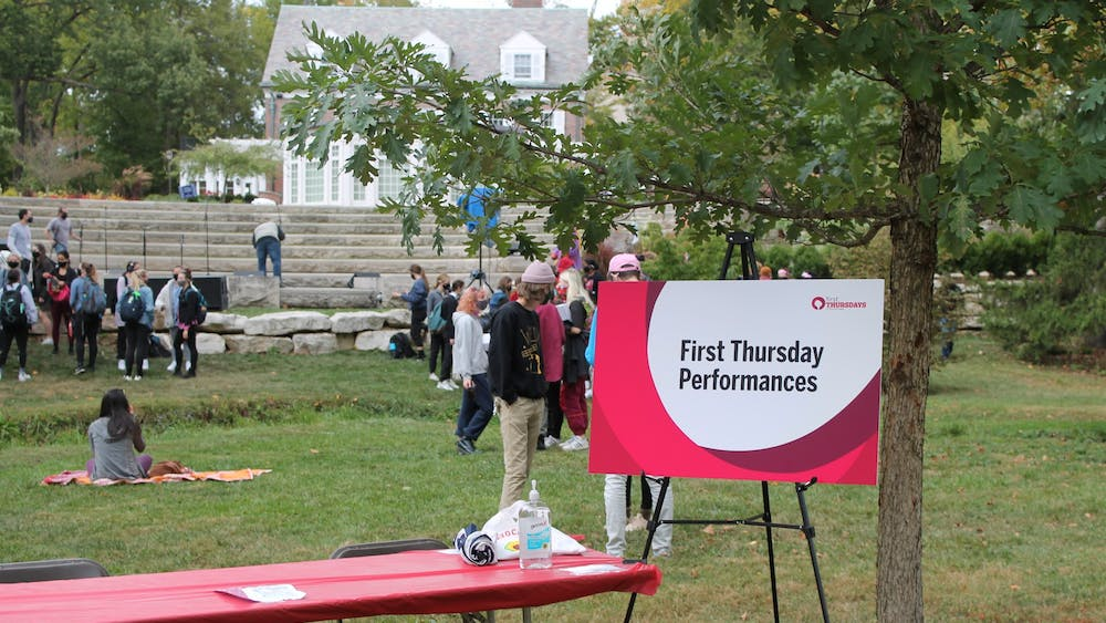 Students gather near the Conrad Prebys Amphitheater Oct. 1, 2020, for the First Thursday Festival. The monthly festival begins Sept. 2, 2021, and will be held from 5-8 p.m. in the Arts Plaza.