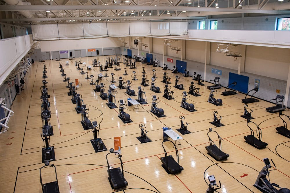 <p>Cardio equipment lines courts that were once used for playing basketball Oct. 4, 2020, at the Student Recreational Sports Center. The SRSC said it&#x27;s striving for more diversity in its program and staffing. </p>