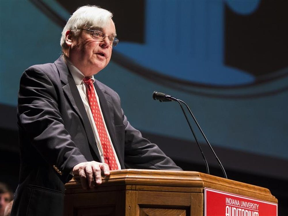 """Dean of Students Harold """"Pete"""" Goldsmith addresses members of the greek community during the Greek Assessment & Awards Program Sunday evening at the IU Auditorium. GAAP recognizes high achievement in the greek community."""