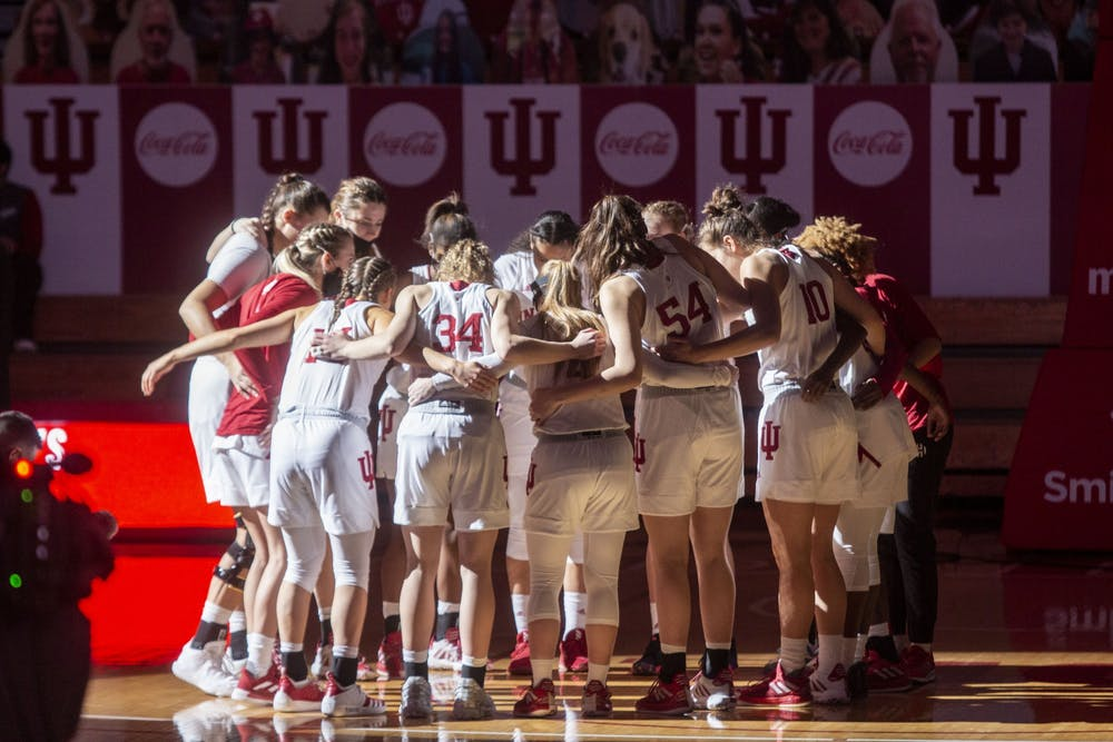<p>The IU women&#x27;s basketball team huddles before the start of its game against Wisconsin on Jan. 10 in Simon Skjodt Assembly Hall. No. 19 IU defeated Wisconsin 74-49 to move to 5-1 in the Big Ten and 7-3 on the season.</p>