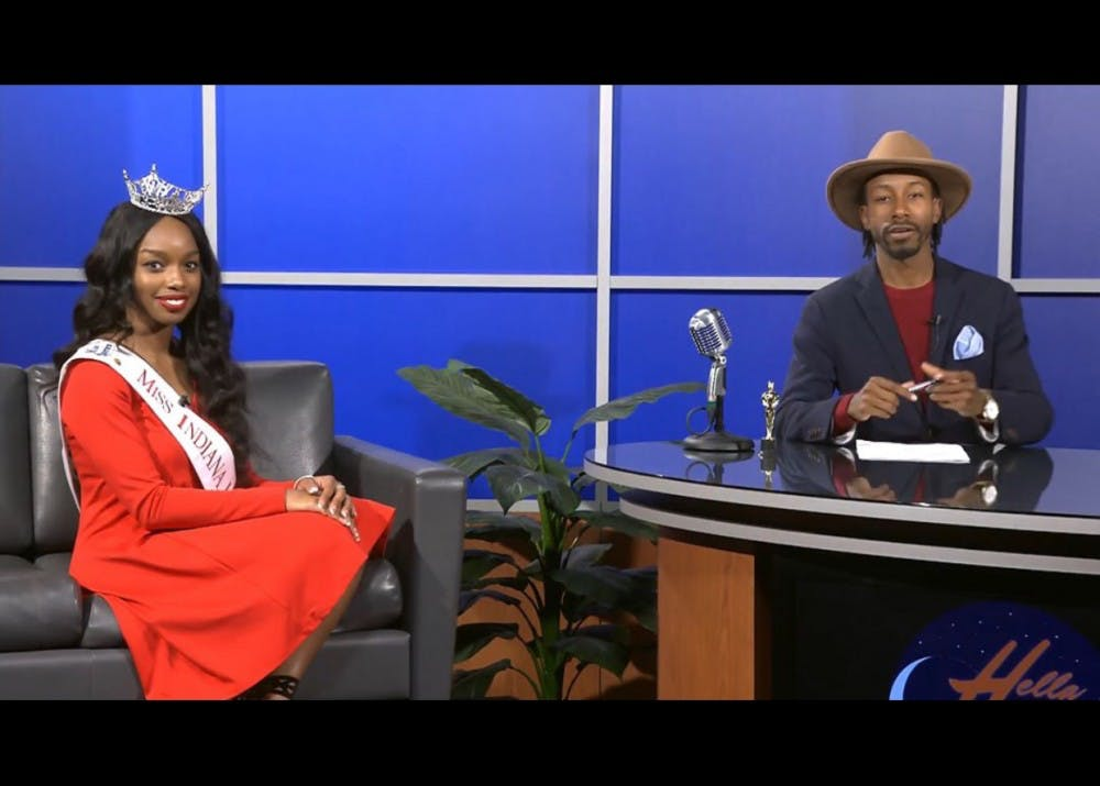 """Rob Sherrell interviews A'Niyah Birdsong, Miss Indiana University 2017, on """"Hella Late"""" in spring 2017. Sherrell featured many prominent, diverse IU students as guests on his show."""