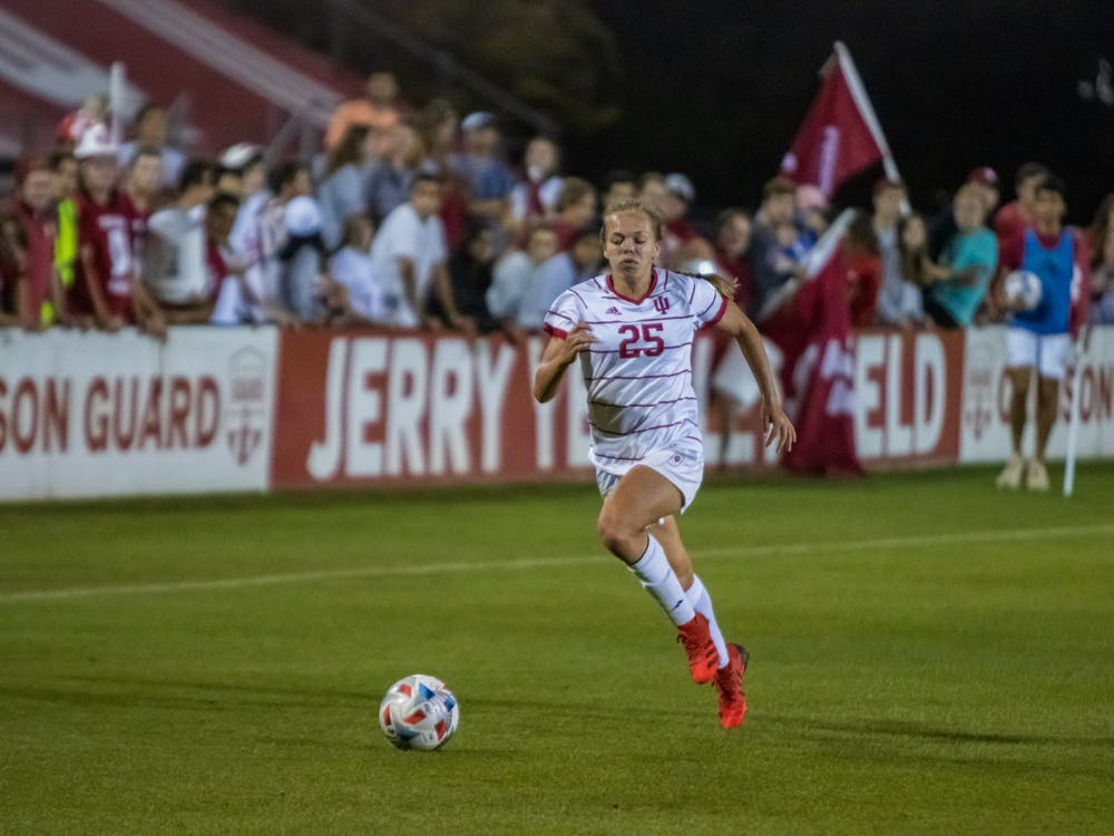 Junior midfielder Paige Webber chases after the ball Sept. 9, 2021, at Bill Armstrong Stadium. Indiana women's soccer's last two regular season games will come against the first and second teams in the Big Ten standings.