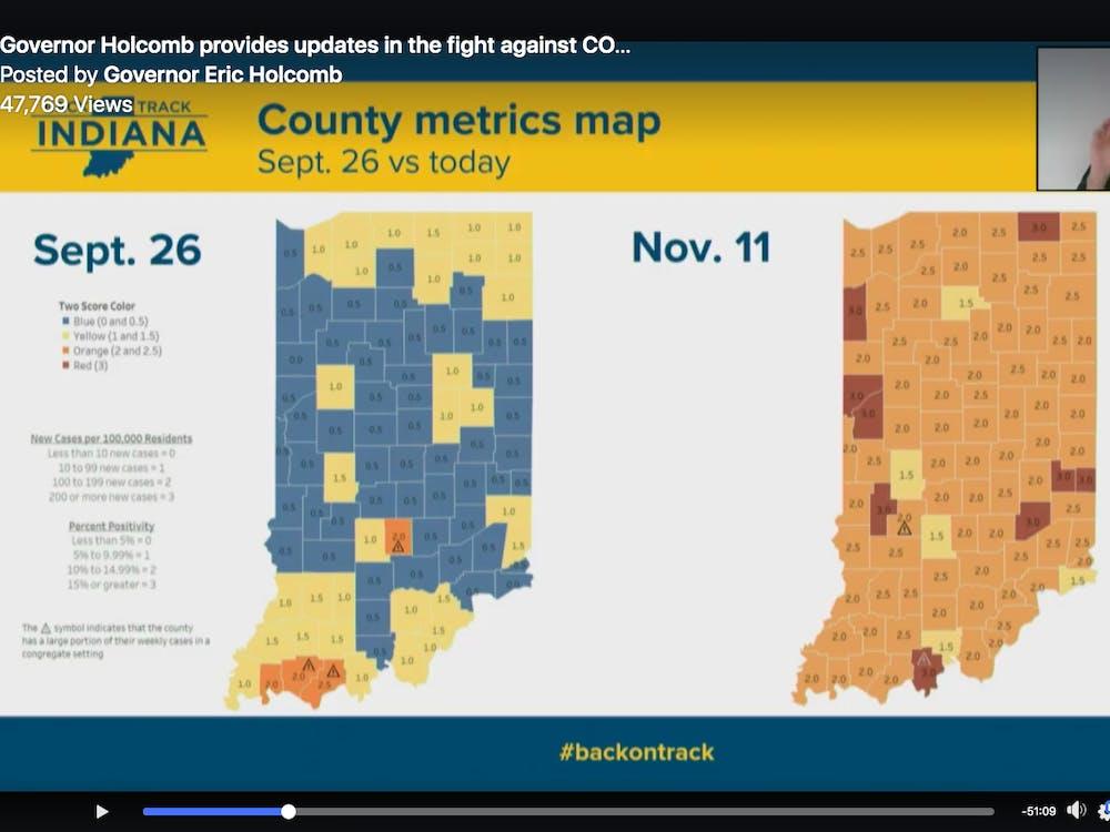 A screenshot from Gov. Eric Holcomb's virtual meeting  Nov. 11