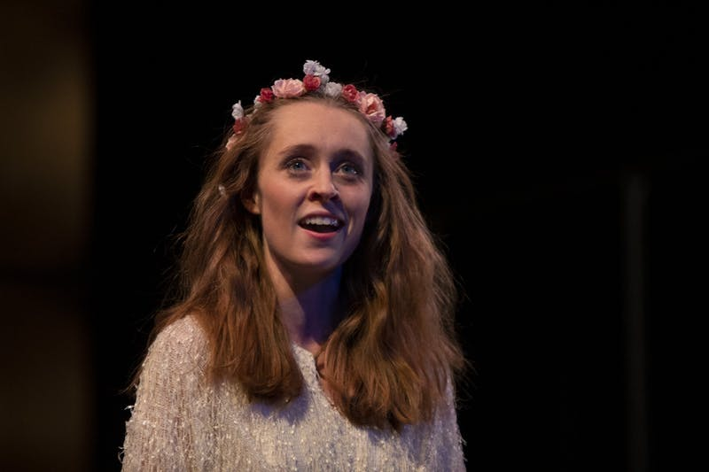 """Graduate student Anna Doyle plays Ophelia on Dec. 3 in dress rehearsal for """"Hamlet"""" at the Musical Arts Center. Eight showings of """"Hamlet"""" will hit the Ruth N. Halls Theatre stage Dec. 6-14."""