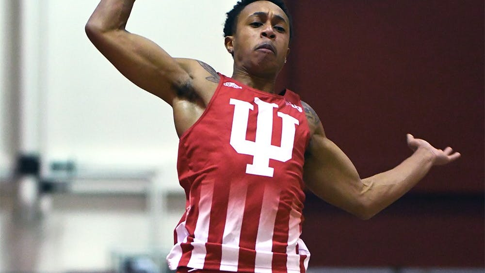 Junior Eric Bethea competes in the long jump in the Hoosier Open Dec. 8, 2017 in Harry Gladstein Fieldhouse. Bethea and the rest of the team will travel to Knoxville, Tennessee this weekend to take part in the Tennessee Relays.