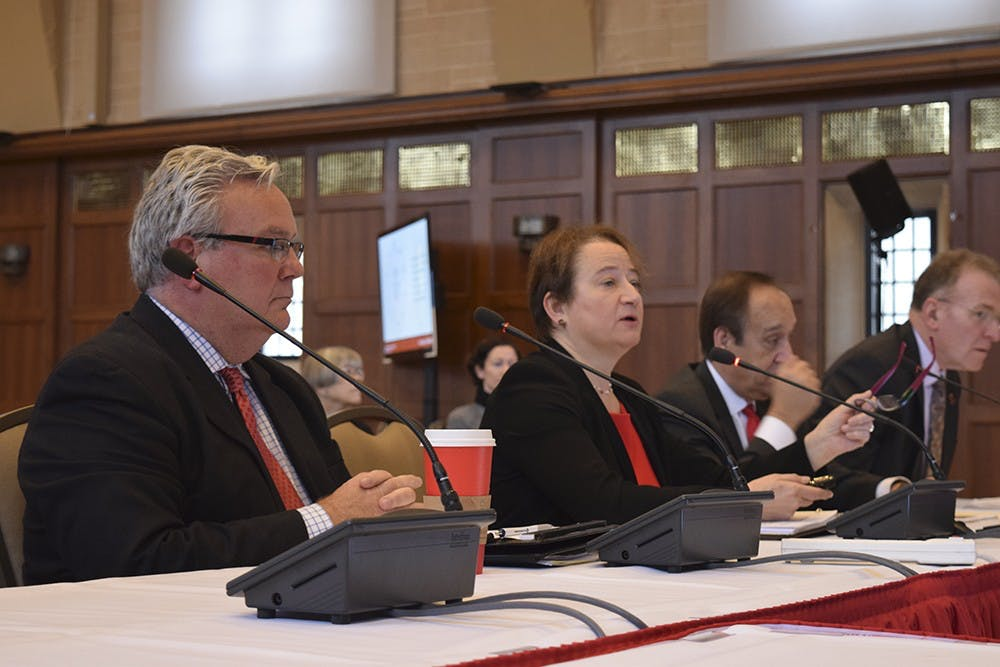Val Nolan Professor of Law Provost and Executive Vice President pf Indiana University, Lauren Robel, presented in Board of Trustees metting on Friday Morning at IMU Alumni Hall. The Board of Trustees is about the operation of Univerisity which happens seven times a year.