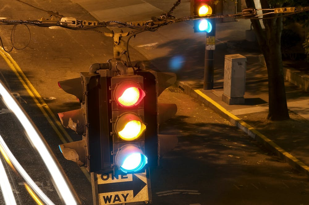 <p>A traffic light flashes in Seattle, Washington. A proposed Bloomington ordinance would restrict drivers from turning right on red at 78 additional intersections throughout the city in an effort to keep pedestrians and cyclists safer.</p>