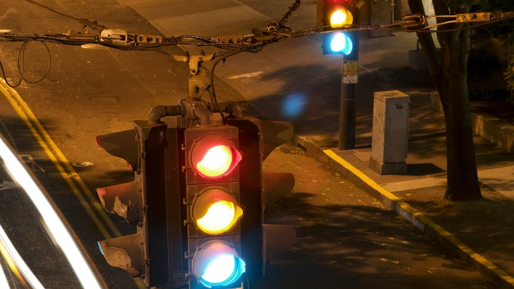 A traffic light flashes in Seattle, Washington. A proposed Bloomington ordinance would restrict drivers from turning right on red at 78 additional intersections throughout the city in an effort to keep pedestrians and cyclists safer.