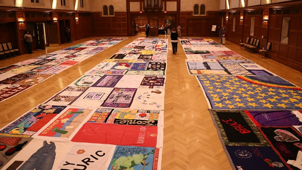 IU's AIDS Memorial Quilt Committee presents the 30th anniversary ceremony of the quilt on Tuesday in Alumni Hall. The committee spoke about the myths and facts of HIV.