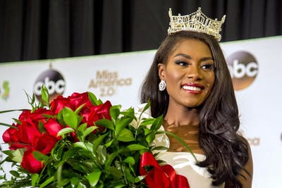Miss New YorkNia Imani Franklin appears at a press conference after she was crowned Miss America 2019 on Sept. 9, 2018, in Atlantic City, New Jersey.