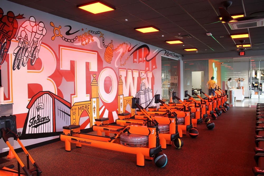 <p>The inside of Orangetheory Fitness, located at 210 E. Kirkwood Ave., is pictured. Orangetheory will have its grand opening April 9.</p>
