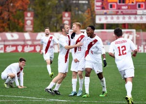 IU celebrates after then-junior midfielder Cory Thomas scored the game-winning goal against Penn State on Nov. 6 at Bill Armstrong Stadium. IU played No. 4 Akron to a draw in their final exhibition match of 2018.