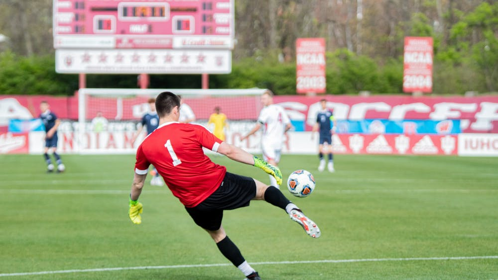 Then-sophomore goalkeeper Roman Celentano kicks the ball against Penn State on April 17, 2021, in the Big Ten Men's Soccer Tournament Championship at Bill Armstrong Stadium. Celentano won Big Ten Defensive Player of the Week after shutting out Ohio State and Penn State.