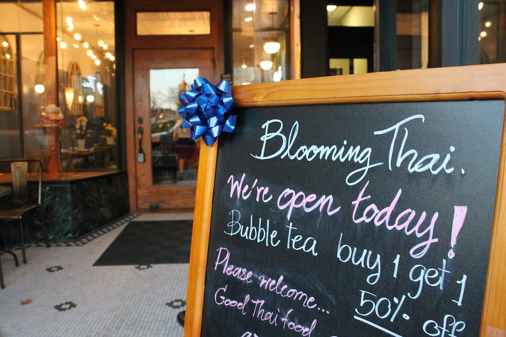 <p>A sign sits Nov. 16 outside Blooming Thai in Bloomington. </p>