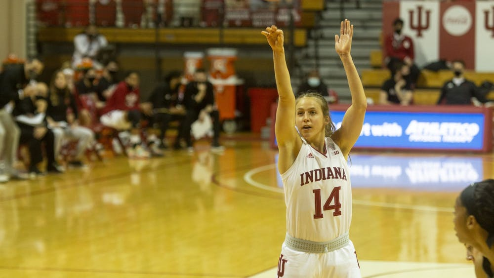 Redshirt senior guard Ali Patberg attempts a free throw Jan. 31 in Simon Skjodt Assembly Hall. Patberg scored 7 points in the first half of No. 16 IU's game against Michigan State.