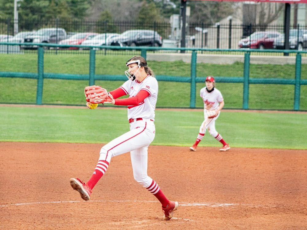 Then Freshman Pitcher Amber Linton enters her wind up against Michigan on March 26. Linton transferred to the University of New Mexico after playing her freshman year at IU.