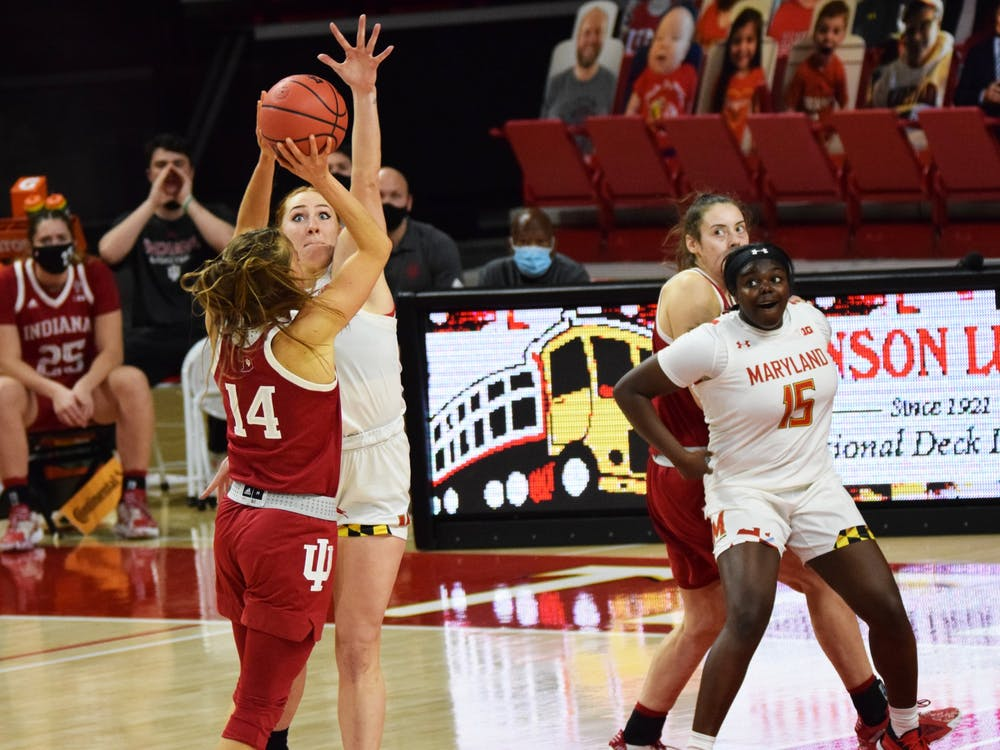 Senior guard Ali Patberg shoots the ball Jan. 4 at Xfinity Center in College Park, Maryland. The No. 19 Hoosiers lost to the No. 12 Maryland Terrapins 80-84.