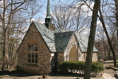 Beck Chapel sits along the Jordan River in a central area on campus.