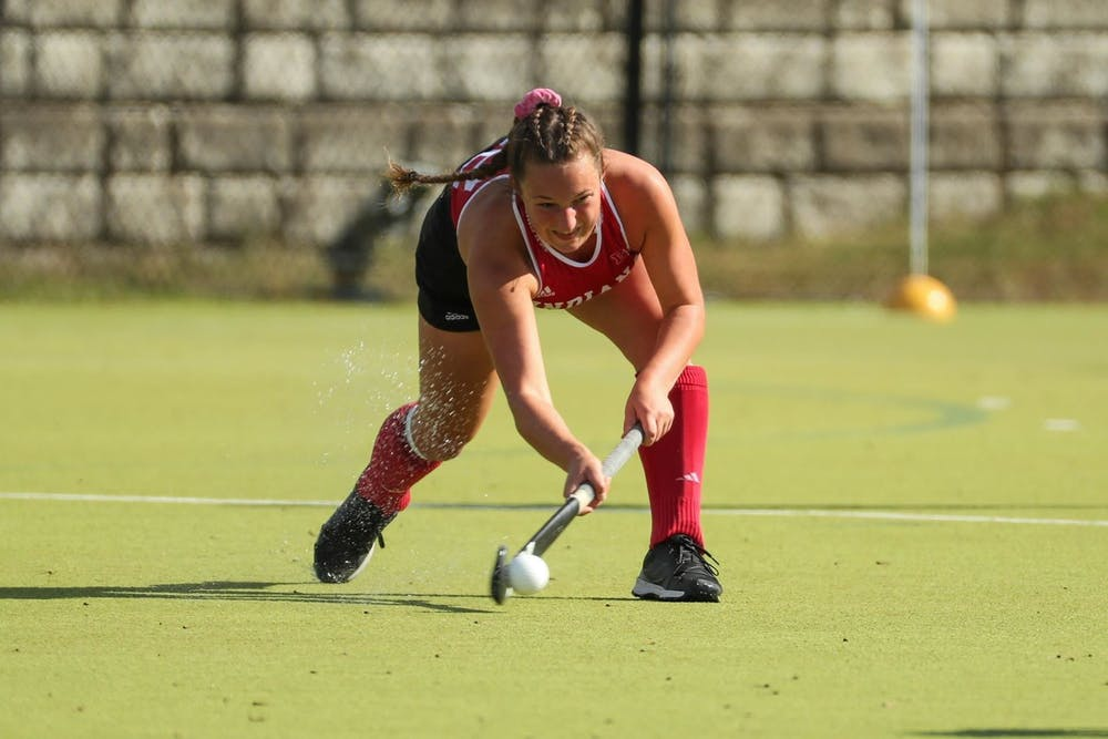 Then-sophomore midfielder Mary Kate Kesler hits the ball Oct. 18, 2019, at the IU Field Hockey Complex. Kesler was the team's leading goal scorer in 2020.