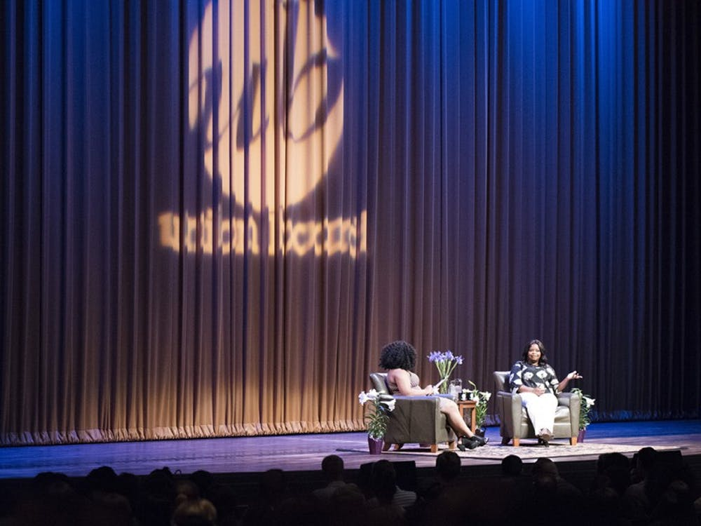 """Octavia Spencer and IU senior and moderator Alexis Burr talk about how Spencer became an actress during the Union Board's """"A Conversation with Octavia Spencer."""" The two hour conversation started with Yasmine Raouf, director of lectures, who gave an opening statement and then Spencer answered questions submitted by the audience."""