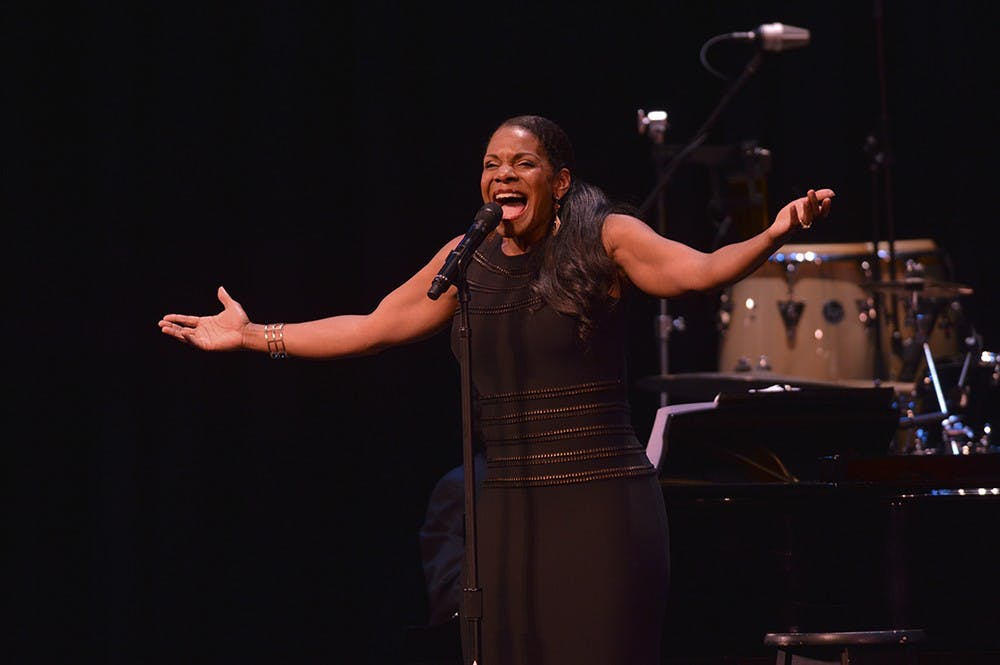 Broadway star Audra McDonald sings a set of musical numbers Tuesday night at the IU Auditorium.