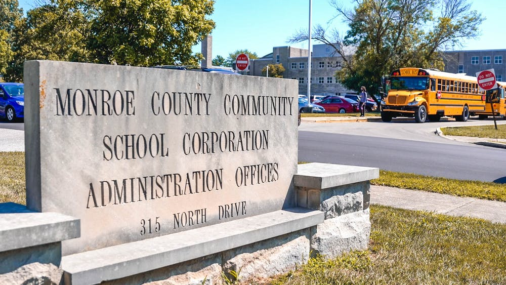 A sign for the Monroe County Community School Corporation Administration Office is seen Sept. 2, 2021, during the afternoon dismissal at Bloomington South High School. The Monroe County Community School Corporation is struggling to supply students with consistent bus routes, Erika Lee, parent of a MCCSC student and an IU professor, said.