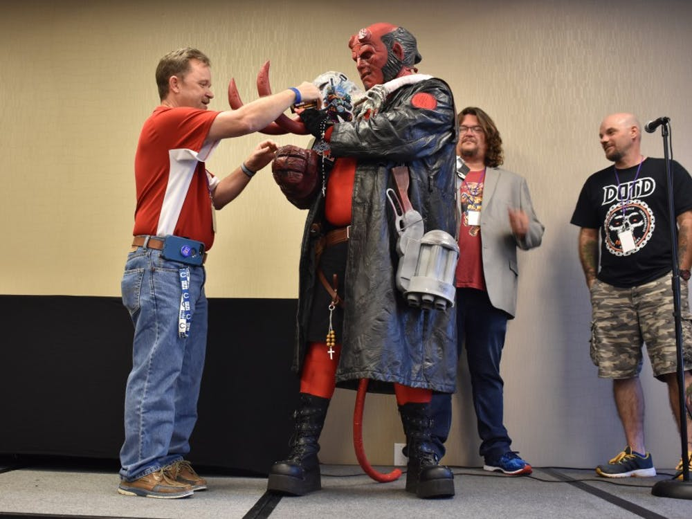 Eric Singer's Hellboy costume wins best hero portionthe Adult Cosplay Contest.The Indiana Toy and Comic Expo took place at the Convention Center on Sunday.
