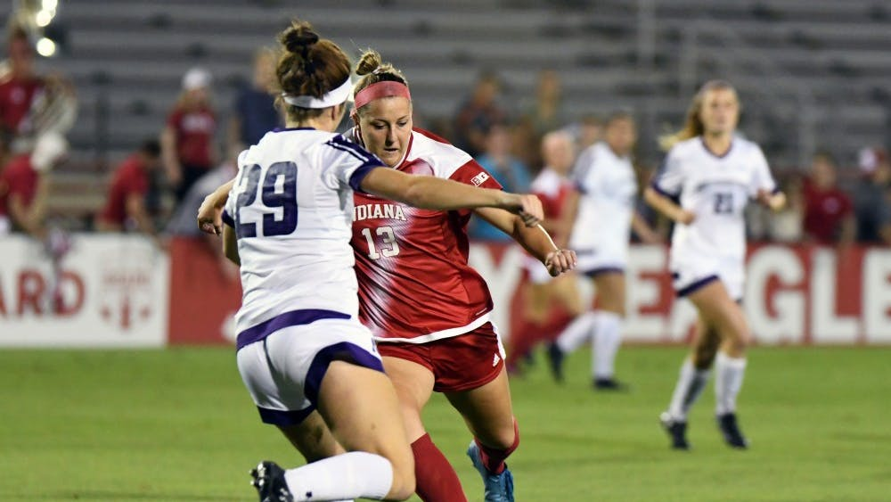 Junior forward Maya Piper scores a goal in the first minute against Northwestern Thursday evening at Bill Armstrong Stadium. IU lost to Northwestern, 2-1, to fall to 5-5-2 on the season.