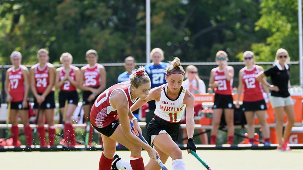 Senior forward Maddie Latino drives to the Maryland goal Sept. 15 at the IU Field Hockey Complex. Latino ranks in the top 20 offensively among Big Ten Conference players.