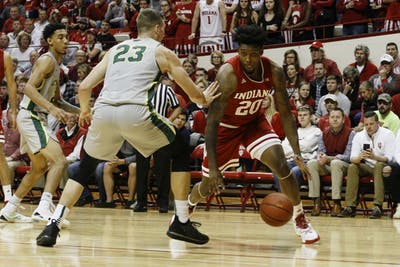 Junior forward De'Ron Davis gets ahold of the ball against Chicago State. IU won, 104-55, Nov.6 at Simon Skjodt Assembly Hall.