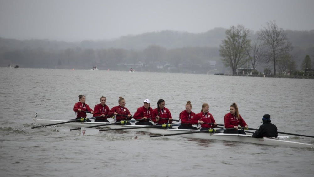 Rowers prepare to race April 20 at Dale England Rowing Center on Lake Lemon. IU won with 72 points in the 11th annual Dale England Cup against the University of Notre Dame and Michigan State.