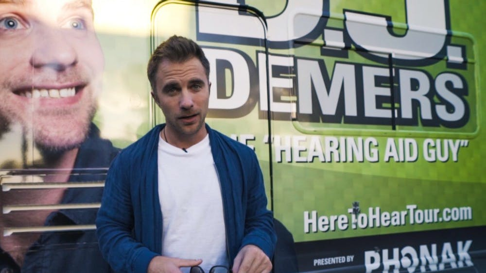 "Deaf comedian DJ Demers films a vlog in front of his RV while on his tour, ""Here to Hear."" Demers will speak at the Whittenberger Auditorium at 8 p.m. Oct. 10 in the Indiana Memorial Union."