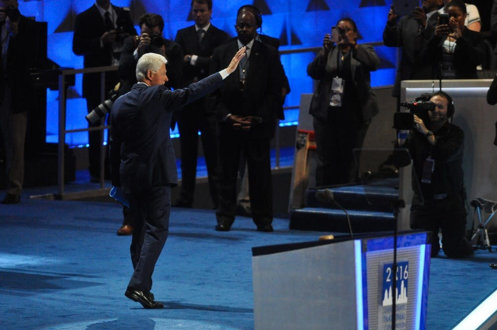 <p>President&nbsp;Bill Clinton leaves the stage after addressing the Democratic National Convention in Philadelphia on Tuesday.</p>