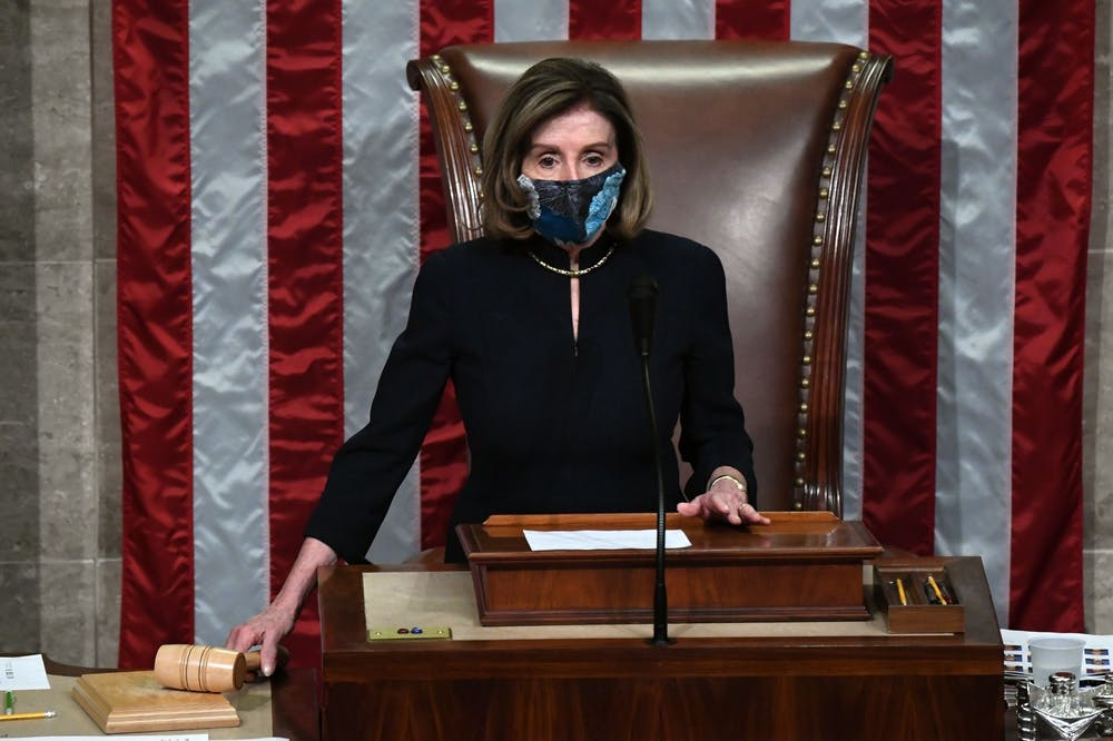 <p>Speaker of the House Nancy Pelosi presides over the U.S. House of Representatives&#x27; vote on the impeachment of President Donald Trump on Wednesday at the U.S. Capitol in Washington, D.C. The Democrat-controlled House of Representatives impeached Trump Wednesday for the second time in a year.</p>