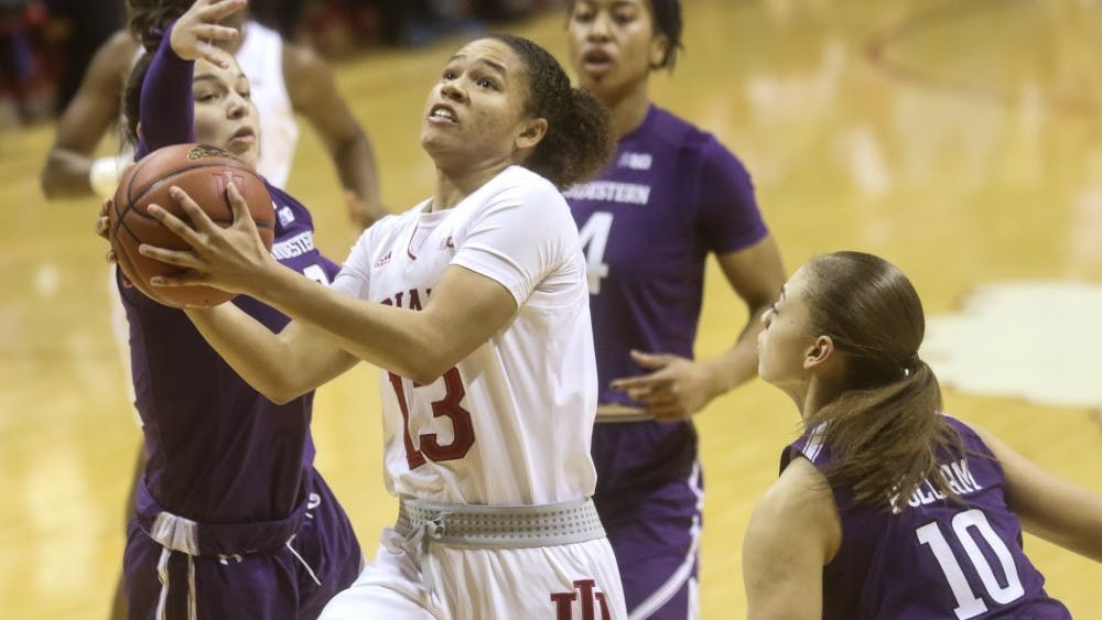 IU sophomore guard Jaelynn Penn attempts a layup in the second half of the IU women's basketball game against Northwestern on Jan 16. The Hoosiers would fall 75-69 to Northwestern.