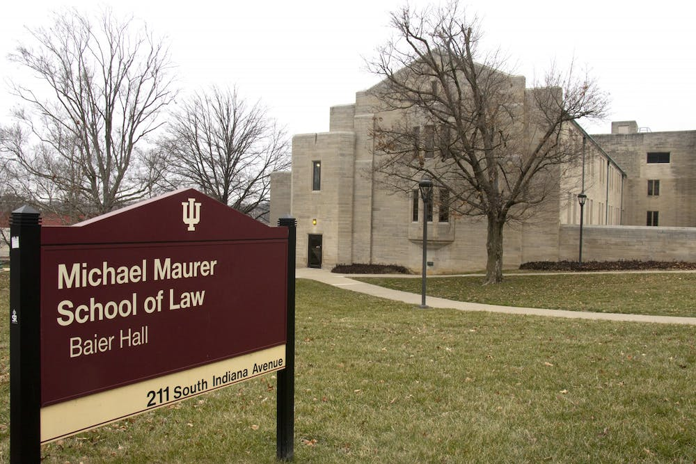 <p>The outside of Michael Maurer School of Law is seen Jan 28. Within the last six months, the Maurer School of Law has accepted $8.9 million in financial gifts from friends and alumni of the school.</p>
