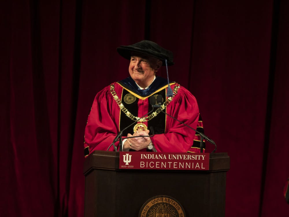 IU President Michael McRobbie makes a speech Jan. 20 at Simon Skjodt Assembly Hall. McRobbie plans to retire in June.