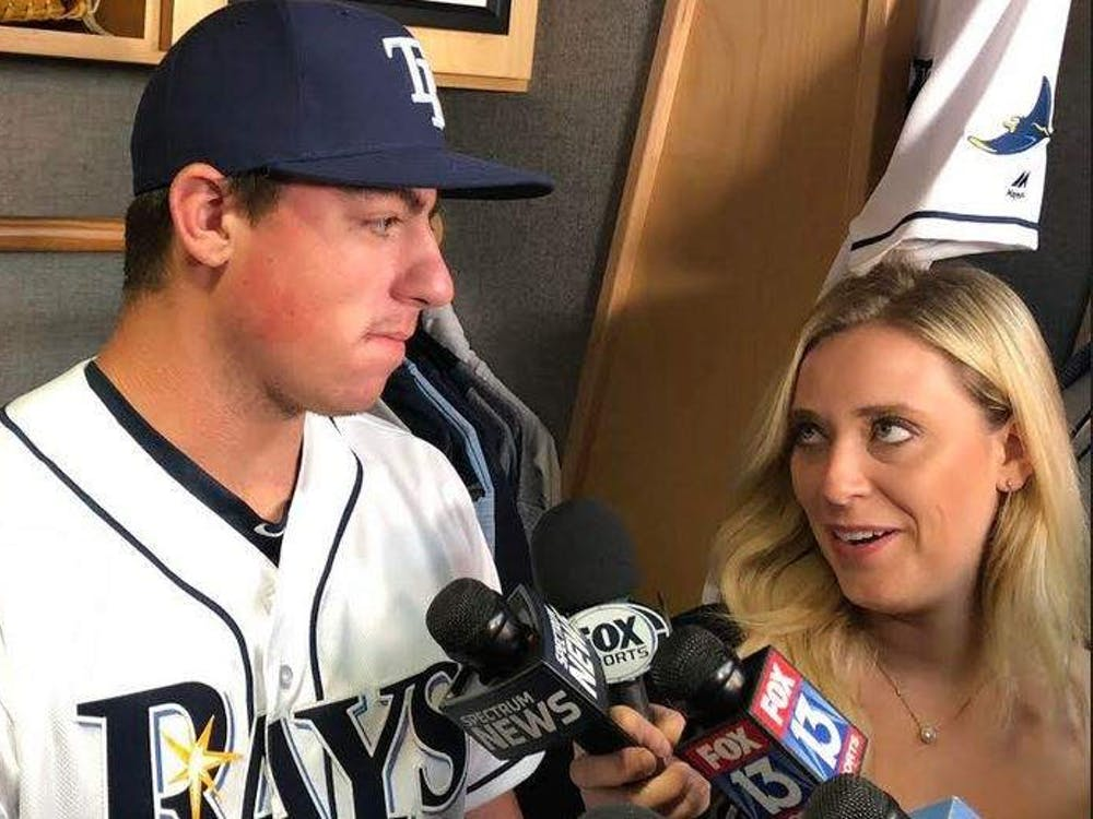 Rays pitcher Brendan McKay is interviewed by Tricia Whitaker from Fox Sports Sun's June 28, 2019. Whitaker graduated from IU in 2012.