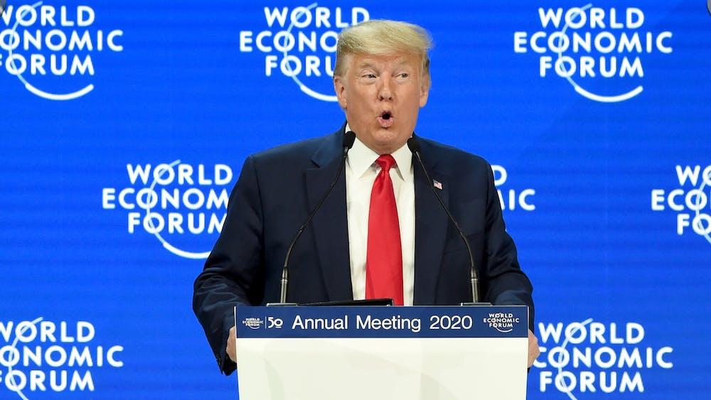 President Donald Trump speaks Jan. 21 at the World Economic Forum annual meeting in Davos, Switzerland.