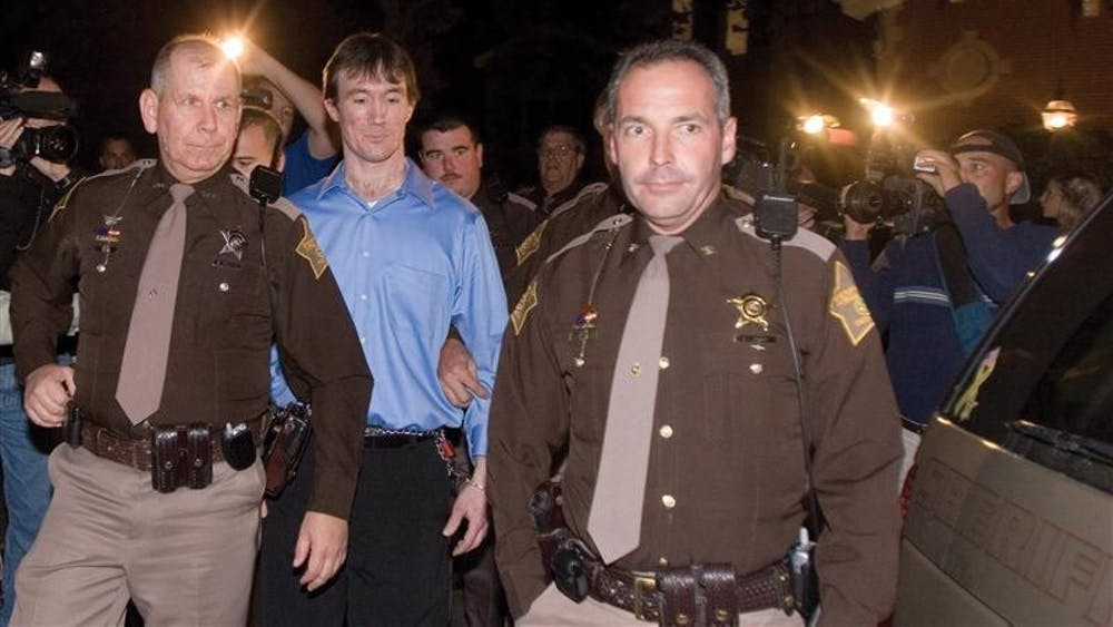 John Myers is led out of the Monroe County courthouse after being found guilty of murder Oct. 30, 2006. A little more than a month since the reversal of a court order, the federal appellate court is allowing Myers to pursue an appeal on different grounds that could release him from prison.
