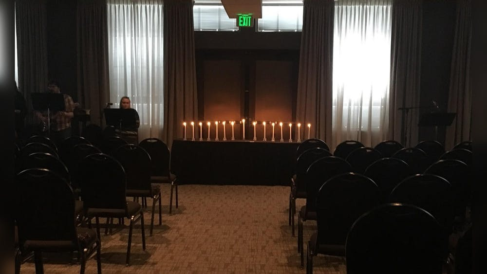 The interior of Hope Presbyterian Church, which meets in the Monroe Convention Center, appears in 2018 in Bloomington. Kara Million, now inactive at Hope Presbyterian Church, helped her husband Chris Baker with a Good Friday service rehearsal.