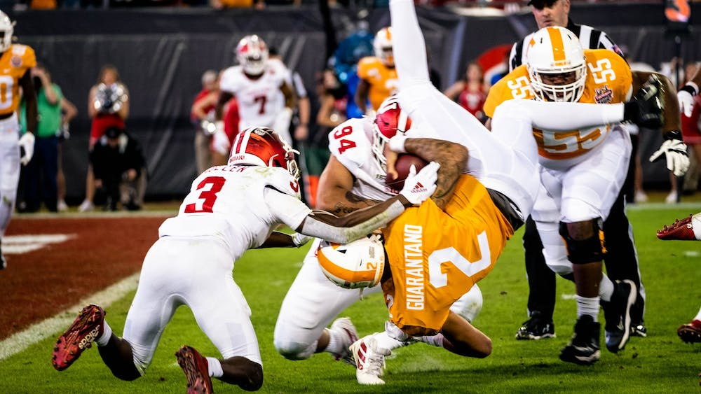 IU tackles University of Tennessee quarterback Jarrett Guarantano Jan. 2 in the first quarter of the TaxSlayer Gator Bowl. IU was down at half during the game in Jacksonville, Florida.
